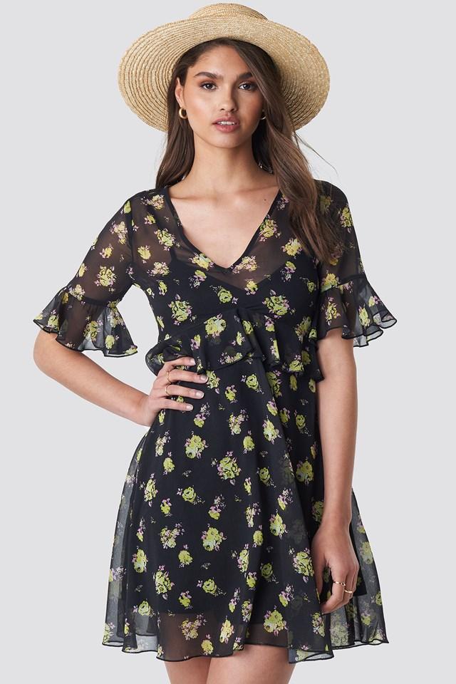 Ruffle Floral Mini Dress Floral Print