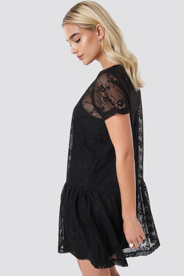 Ruffle Hem Lace Mini Dress Black