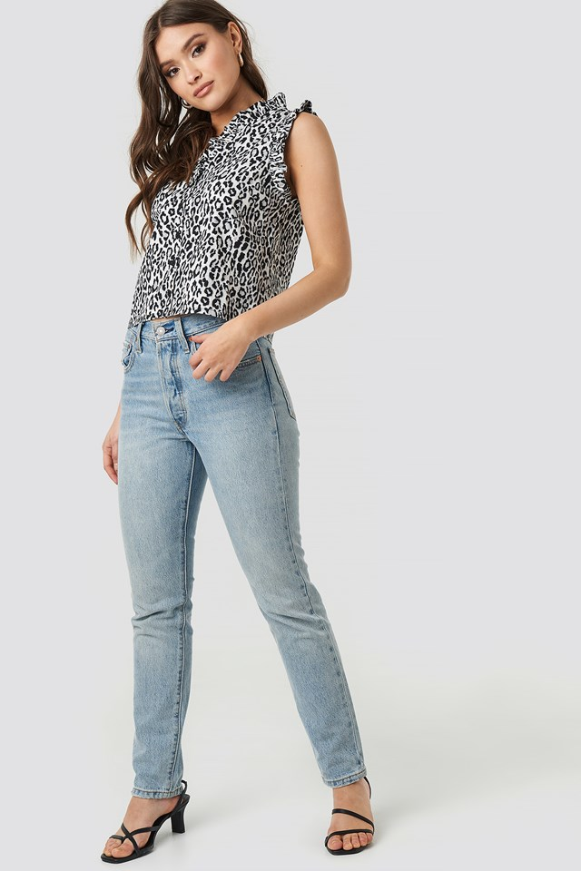 Ruffle Leopard Button Up Cotton Top Black/Leopard