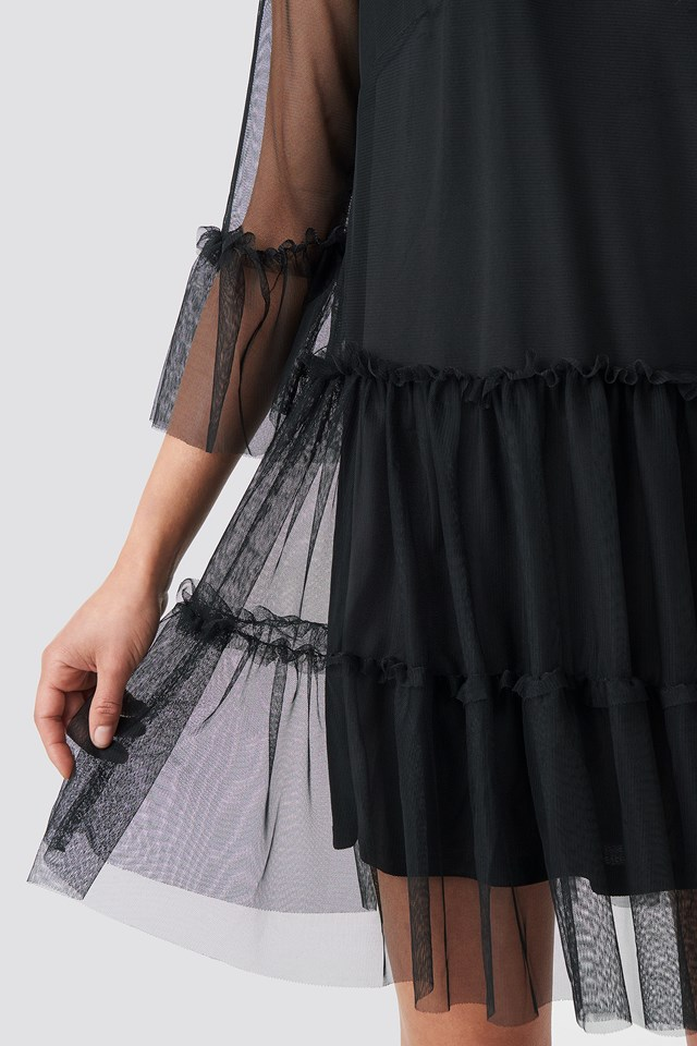 Ruffle Mesh Mini Dress Black