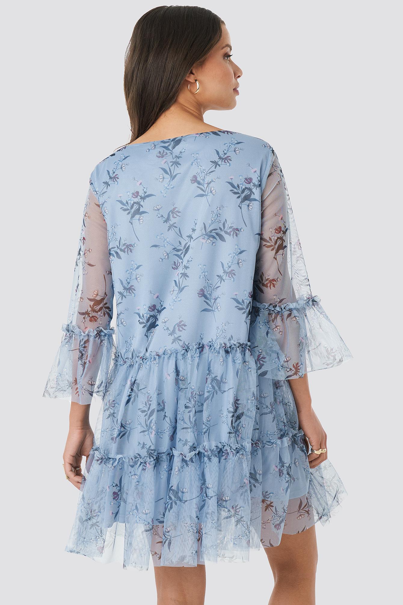 Ruffle Mesh Mini Dress NA-KD.COM