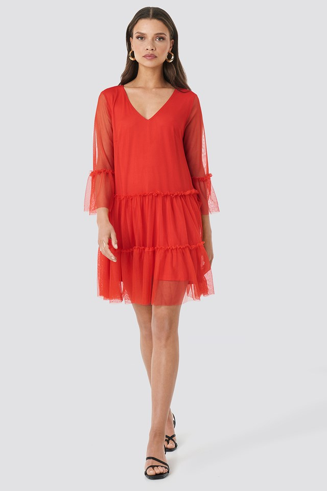 Ruffle Mesh Mini Dress Red