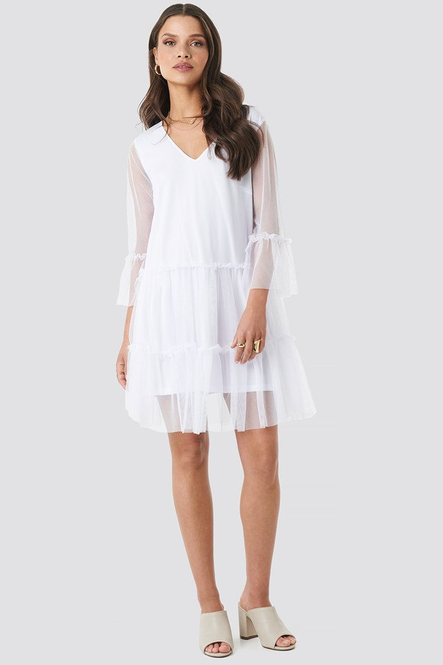 Ruffle Mesh Mini Dress White