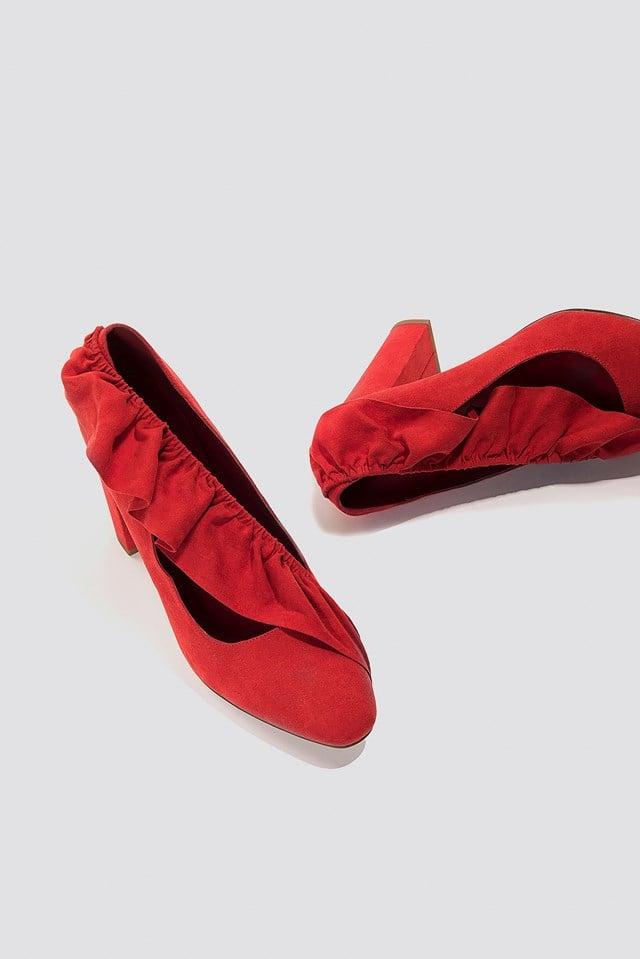 Ruffle Mid Heel Pump Red