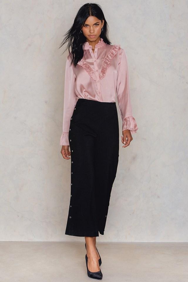 Satynowa koszula z falbanką Light Pink