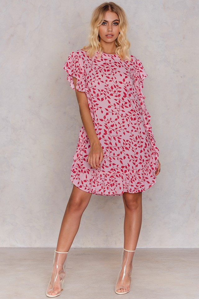 Ruffle Short Dress Pink Red Print