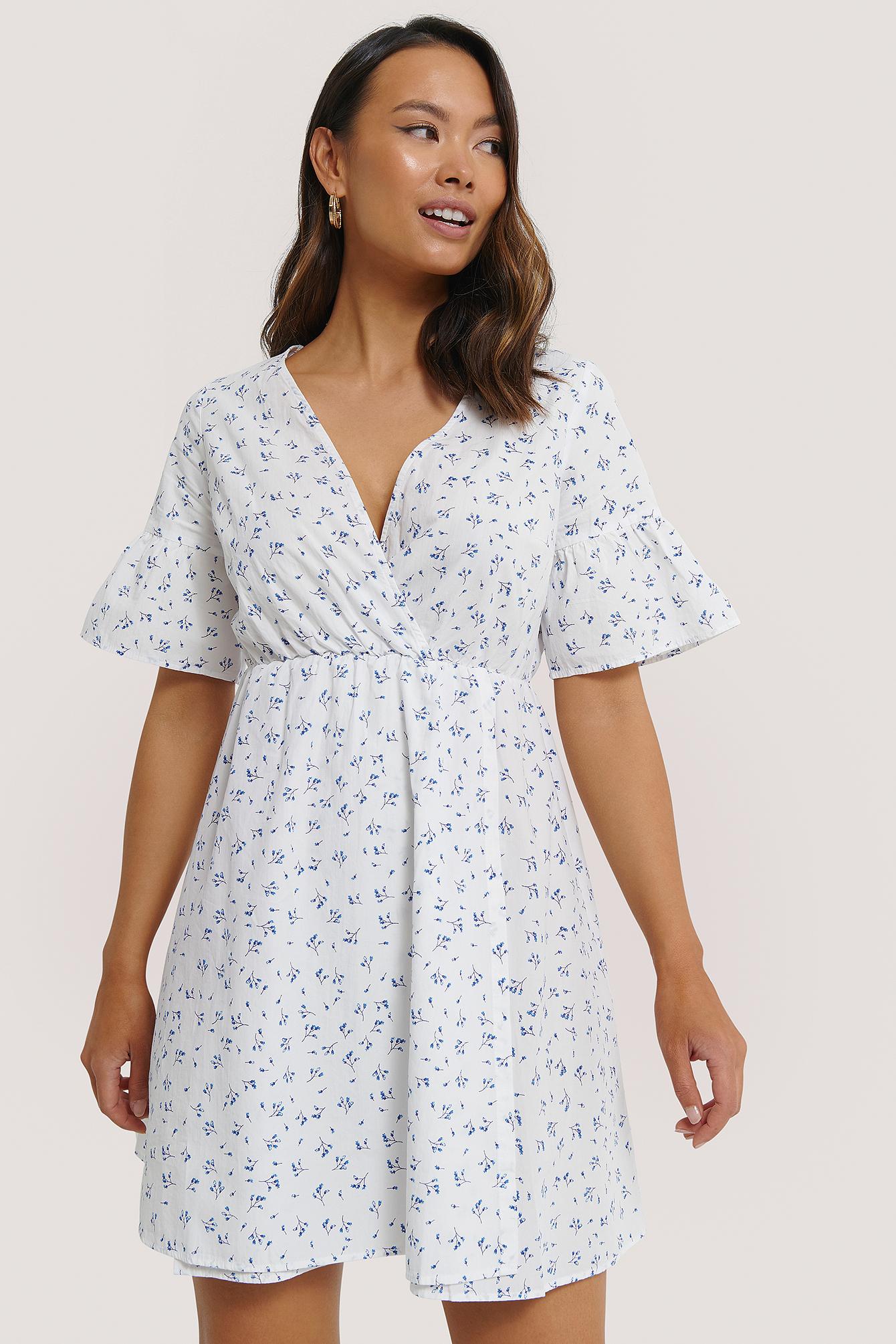 na-kd -  Ruffle Sleeve Mini Dress - White