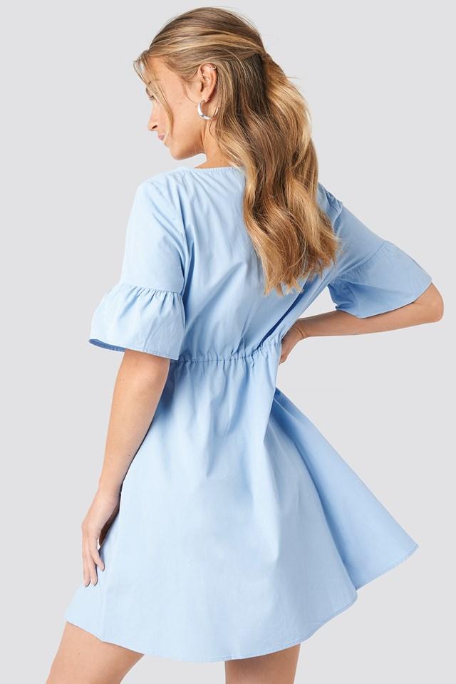 Ruffle Sleeve Mini Dress Blue