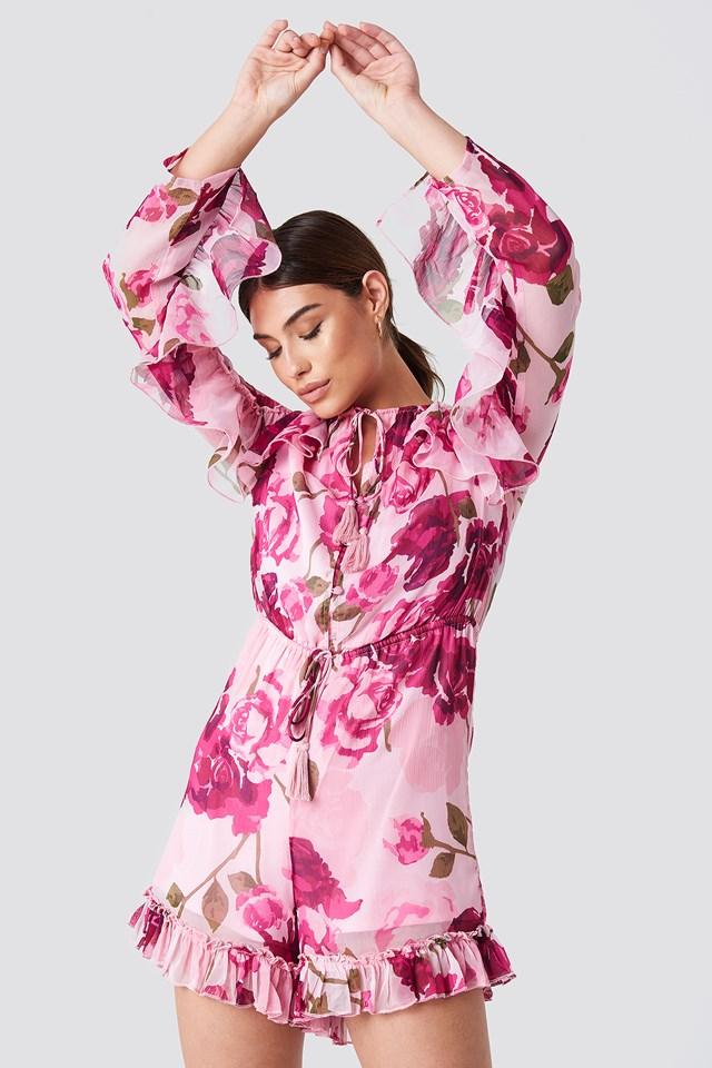 Ruffle Sleeve Playsuit Light Pink Pastel Rose