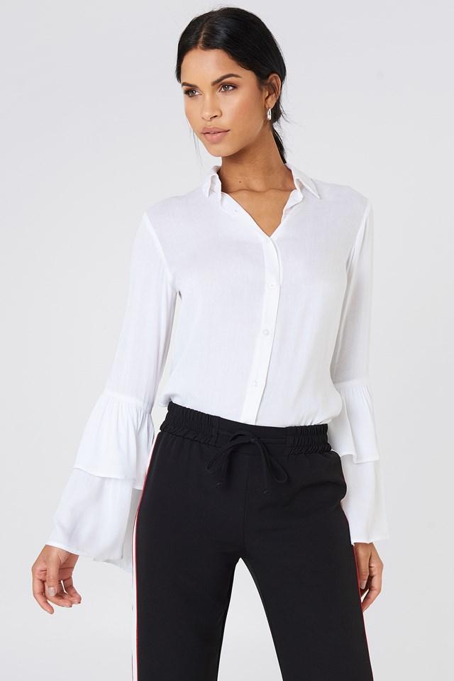 Ruffle Sleeve Shirt White