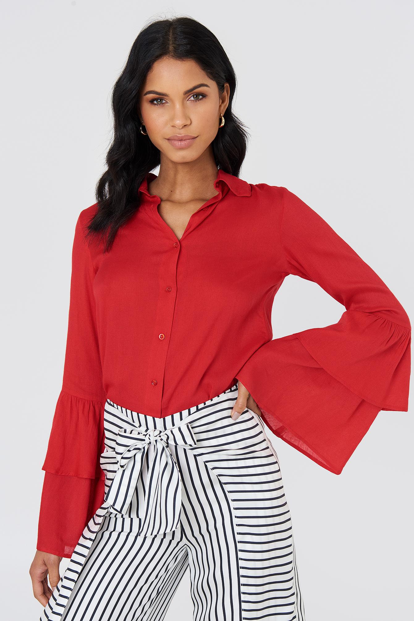 03a75d4b40f Ruffle Sleeve Shirt Red | na-kd.com