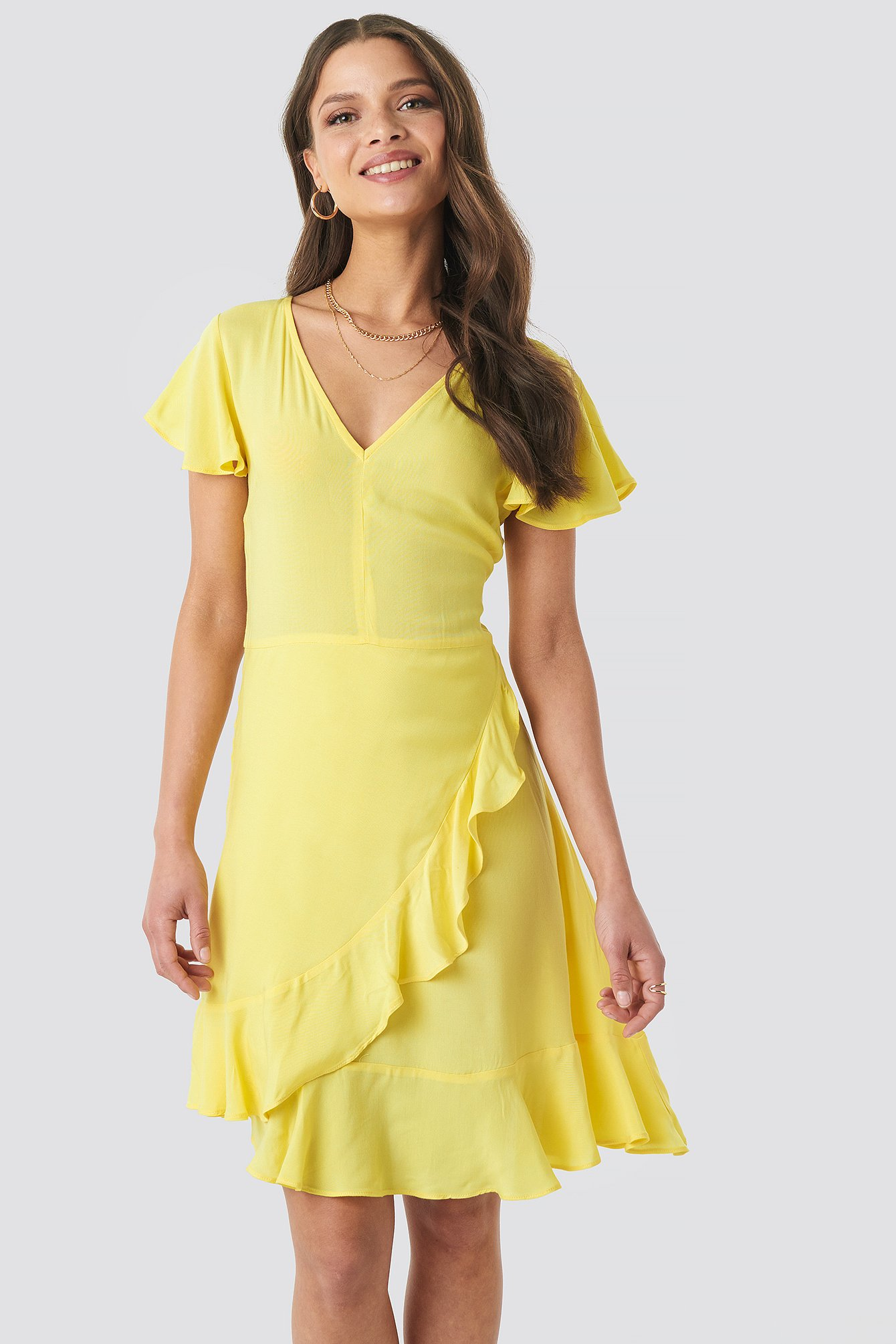 na-kd -  Ruffle Wrap Mini Dress - Yellow