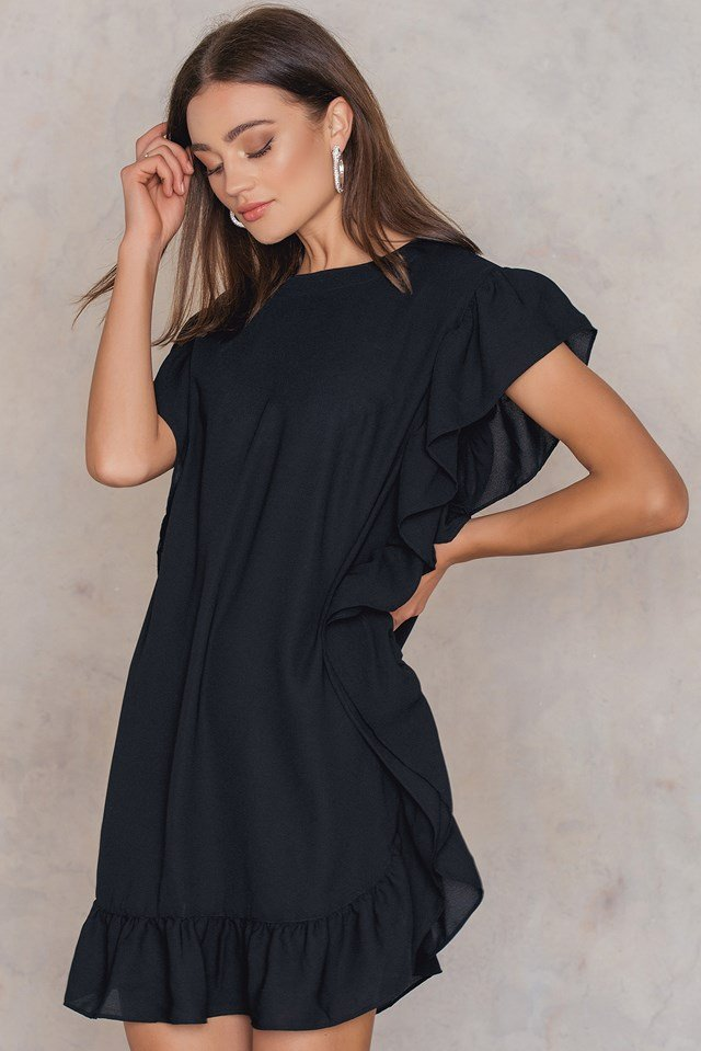 Ruffle Short Dress Black
