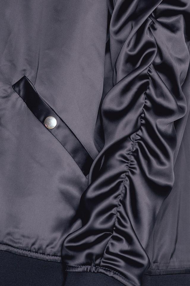 Ruffled Sleeve Bomber Jacket Silver Blue