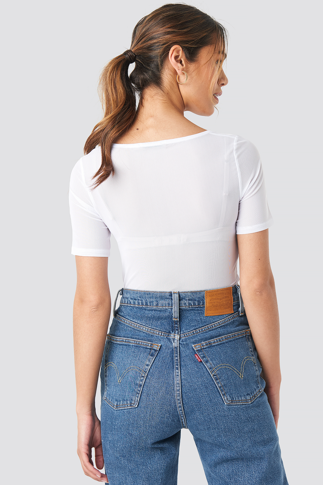 Rushed Front Square Neck Mesh Top NA-KD.COM