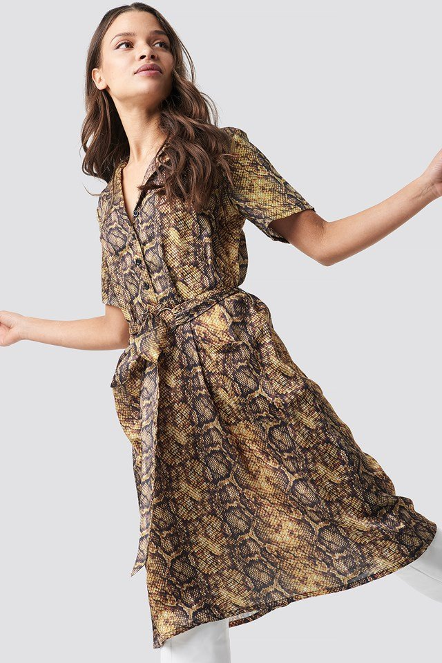 Snake Print Belt Satin Dress Snake