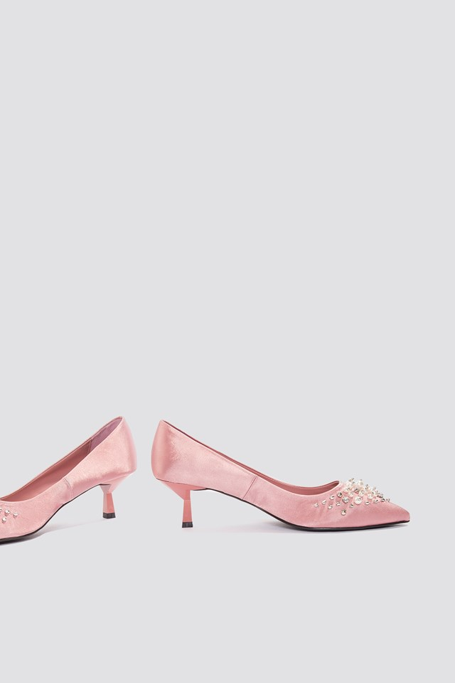 Satin Beaded Pumps Pink