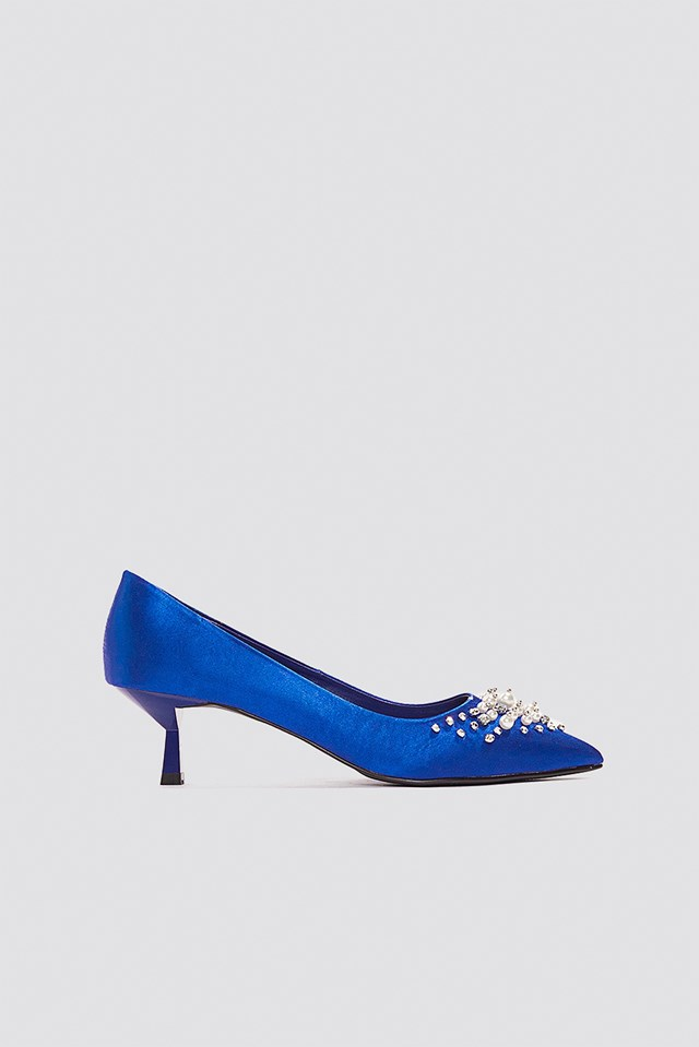 Satin Beaded Pumps Cobalt