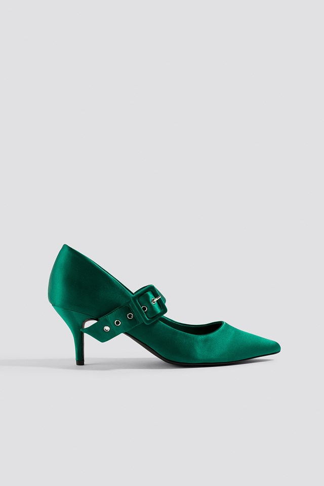 Satin Buckle Pumps Green