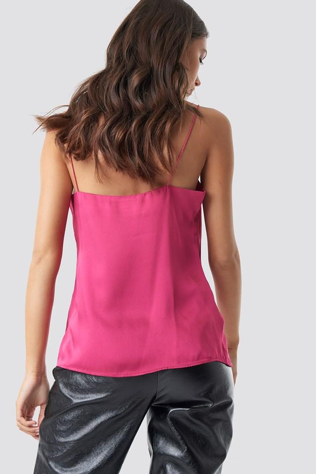 Satin Cami Top Bright Pink