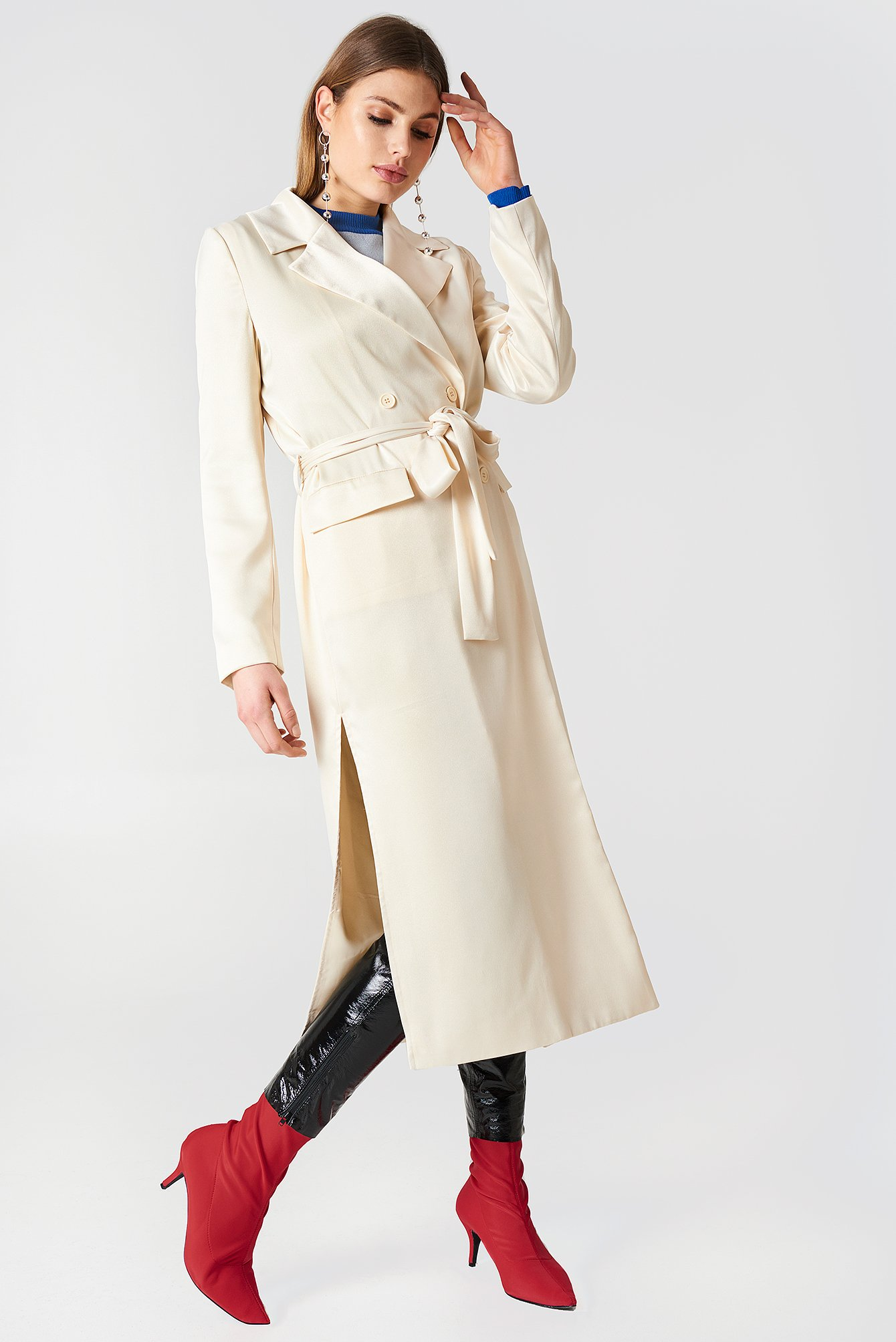 SATIN COAT - OFFWHITE