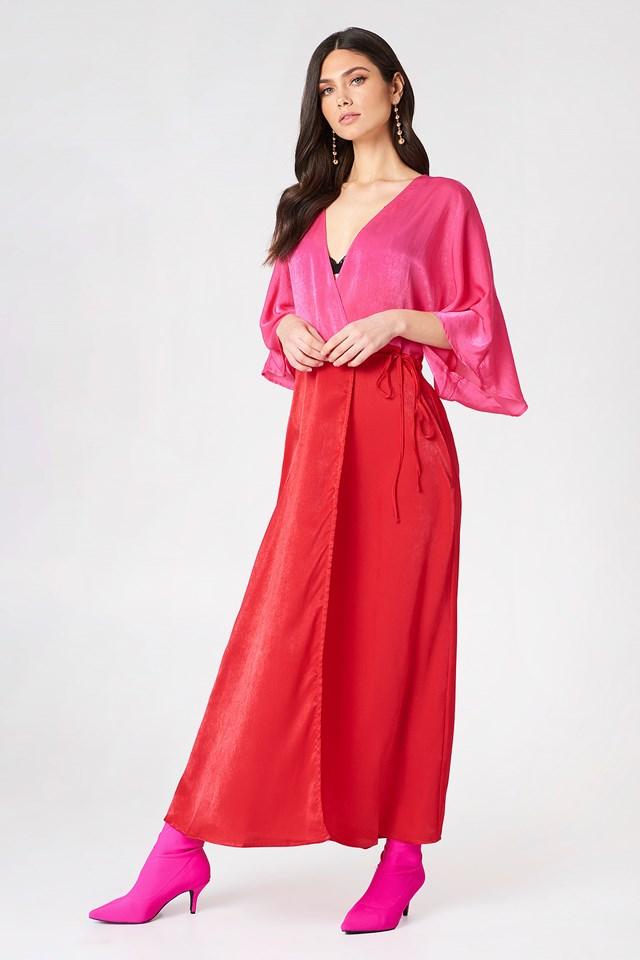 Satin Coat Dress Pink Comb