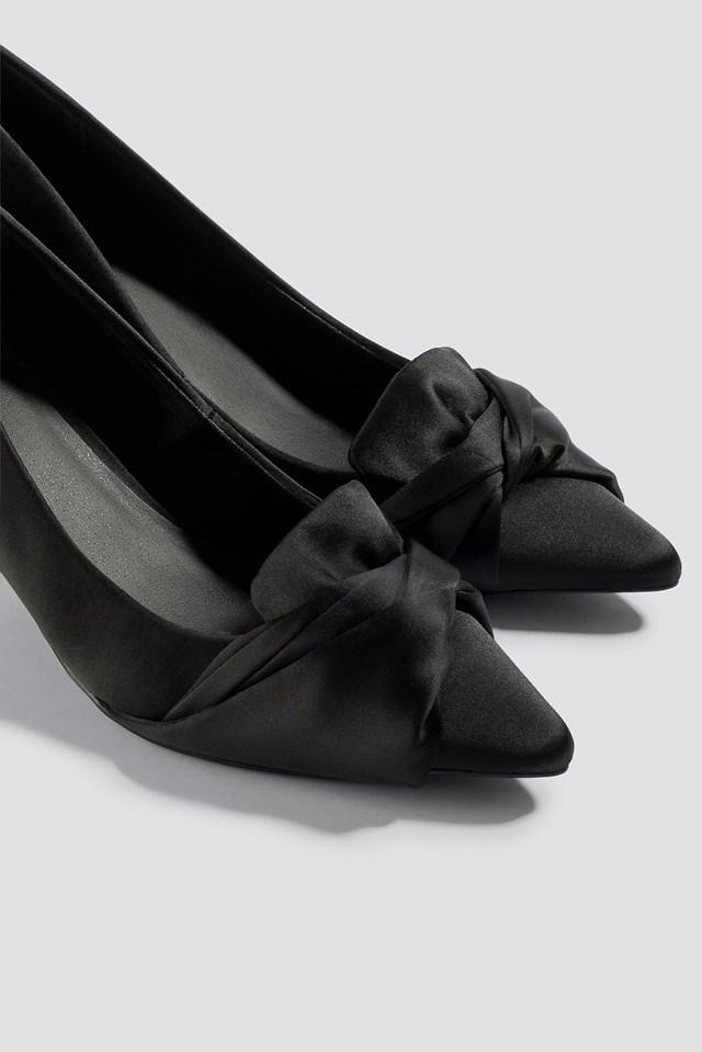 Satin Court Shoes Black