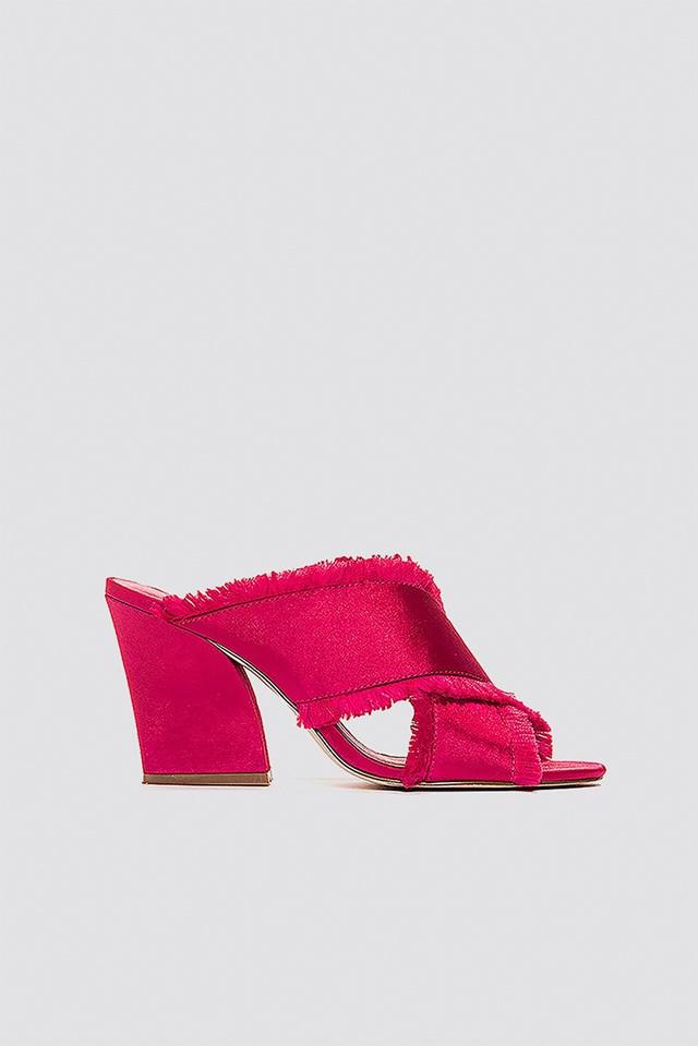 Satin Cross Mule Heels Red