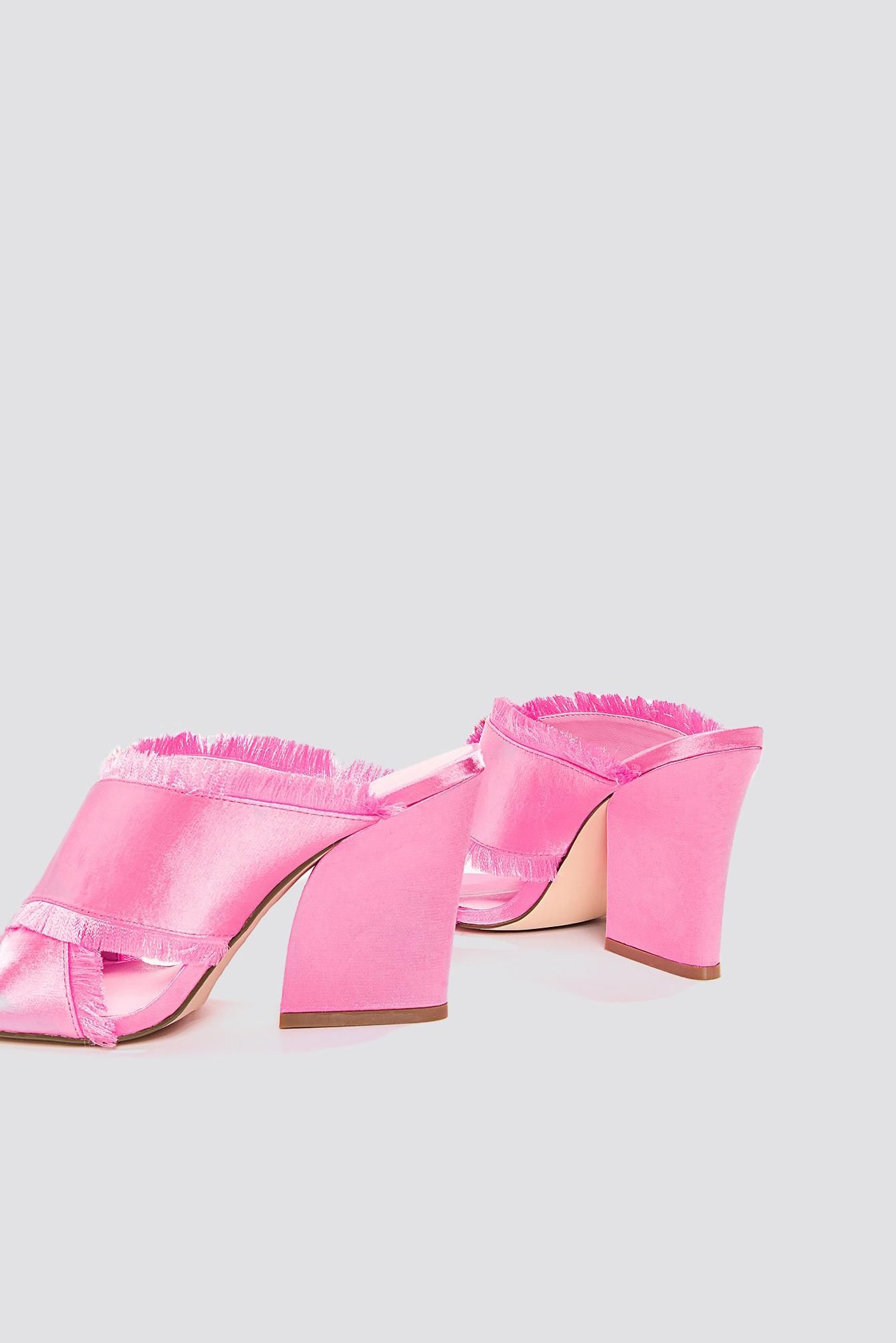 NA-KD Shoes Satin Cross Mule Heels - Pink m1iOcVTmi