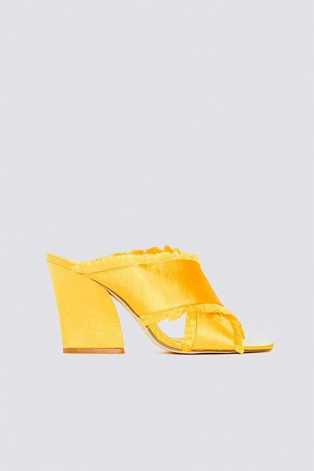Satin Cross Mule Heels Yellow