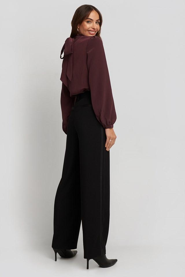Satin Detail Pants Black