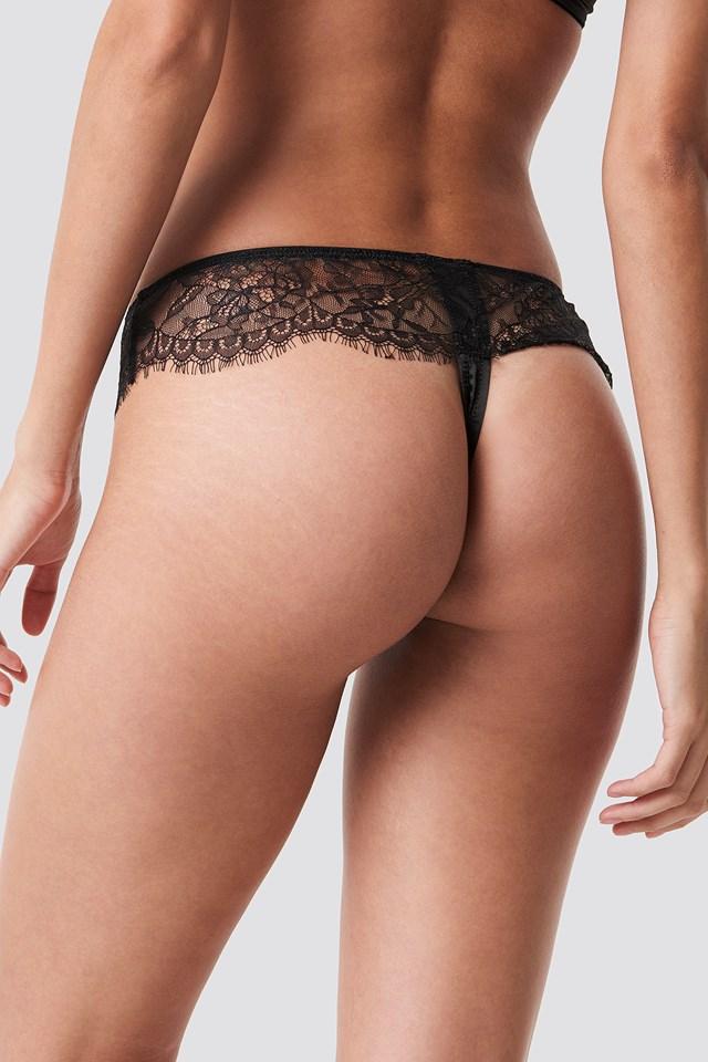 Satin Detail Thong Black