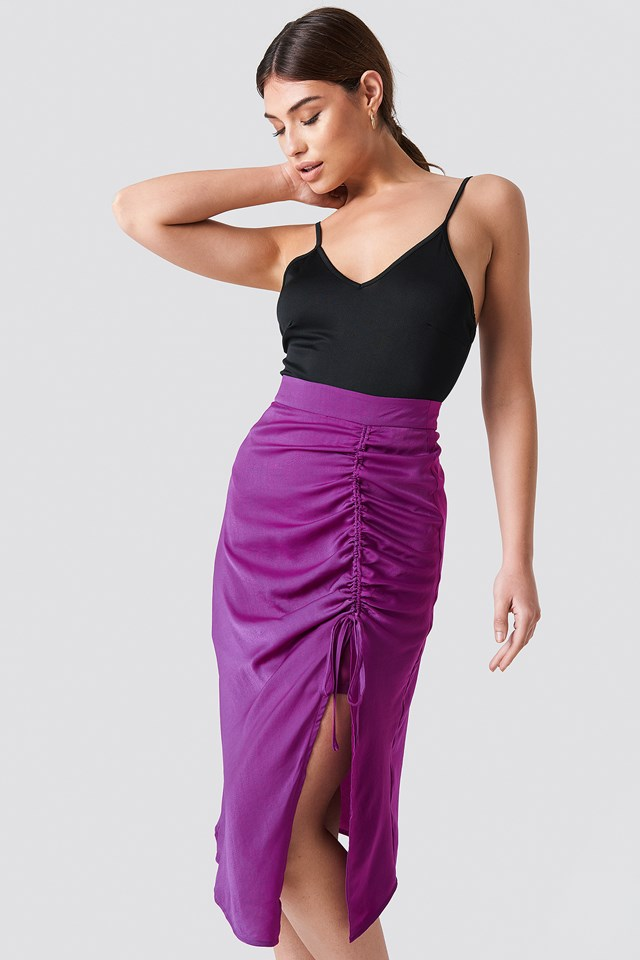 Satin Drawstring Midi Skirt Purple