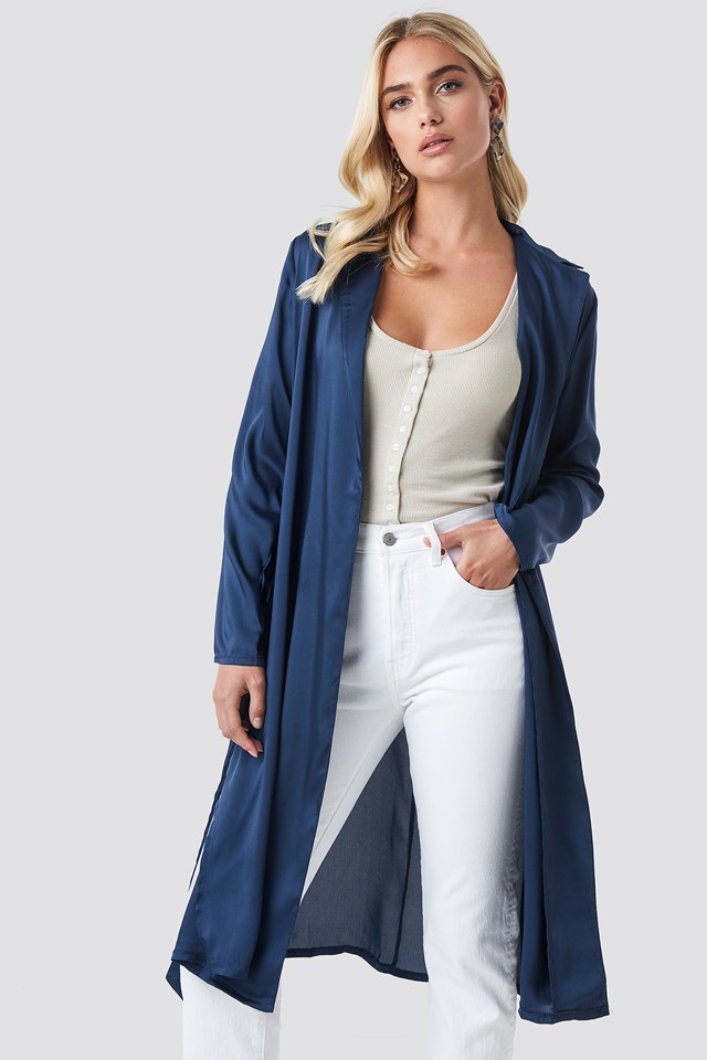 Satin Duster Coat Navy