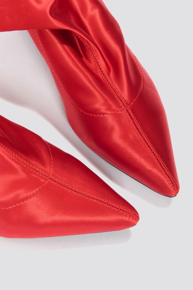 Satin Kitten Heel Sock Boots Red