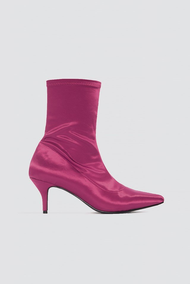 Satin Kitten Heel Sock Boots NA-KD Shoes