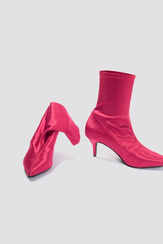 Satin Kitten Heel Sock Boots NA-KD.COM