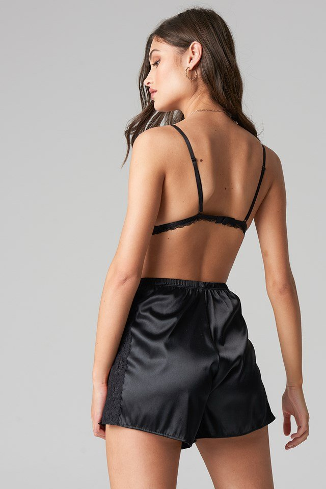 Satin Lace Shorts Black