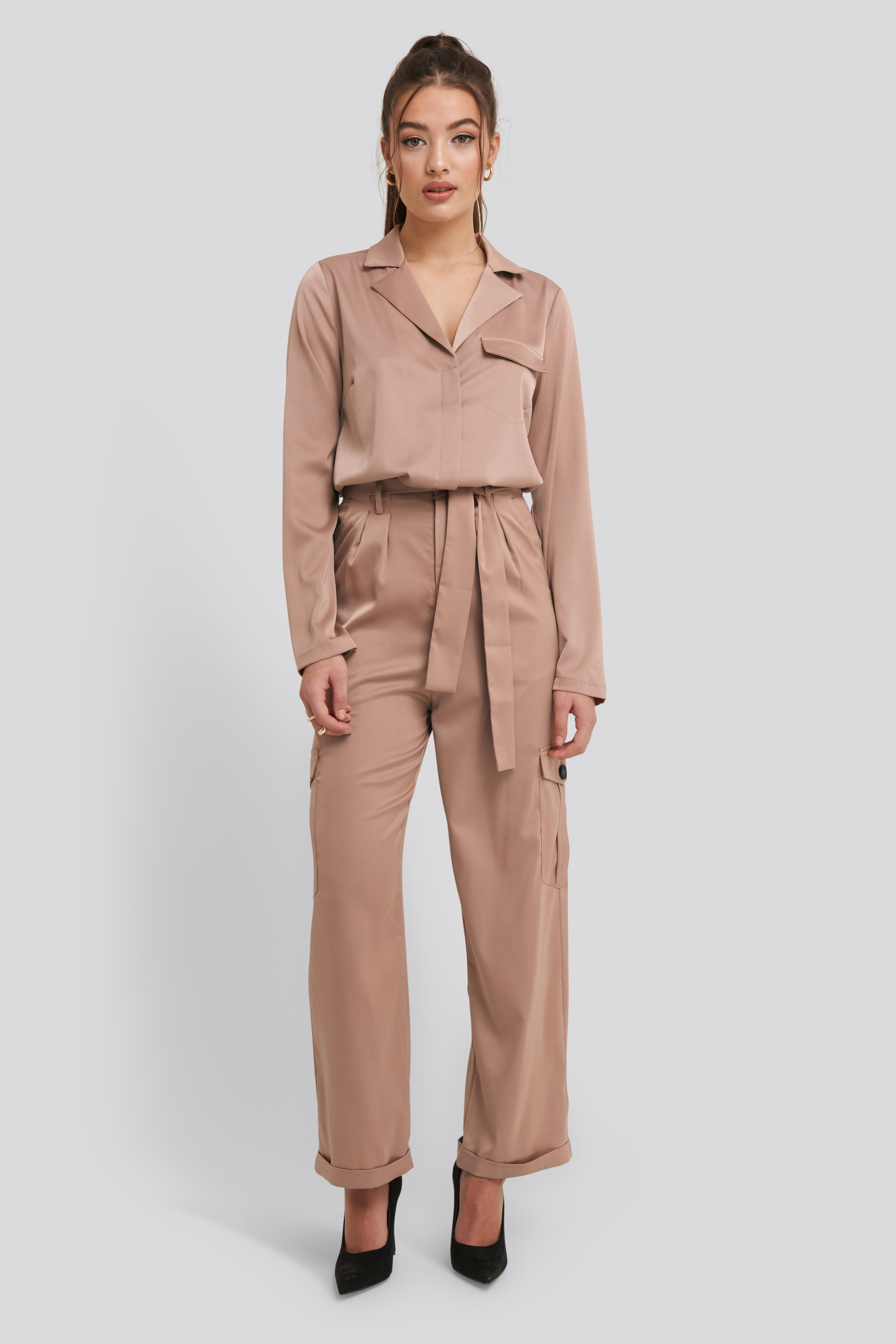 Dusty Pink Satin Lounge Pants