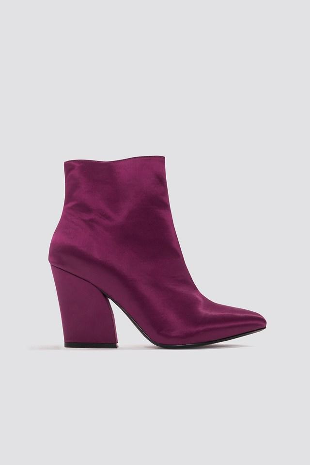 Satin Mid Heel Boots Burgundy