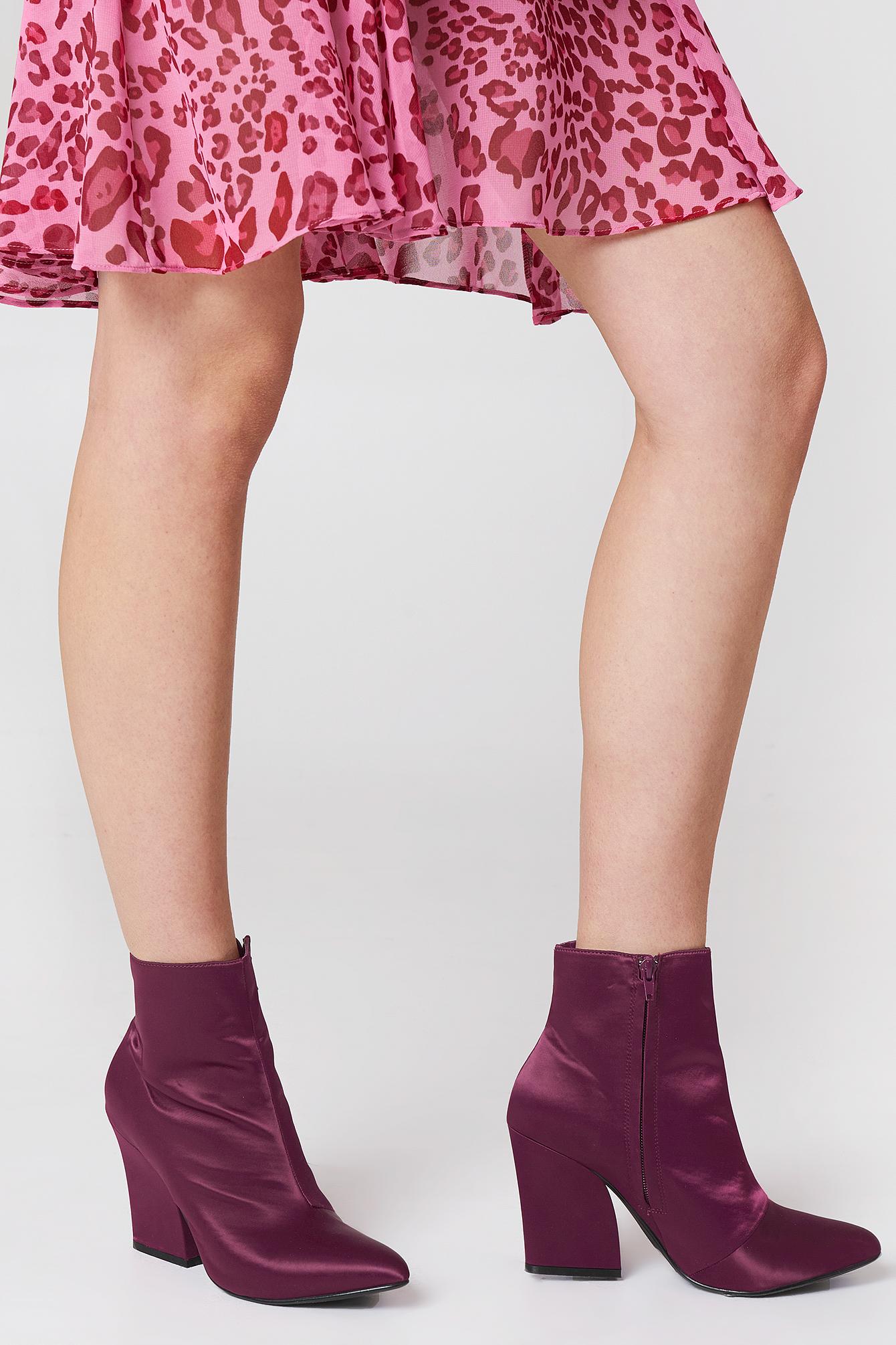 Satin Mid Heel Boots NA-KD.COM
