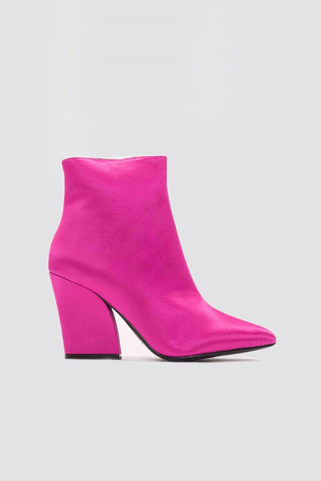 Satin Mid Heel Boots NA-KD Shoes