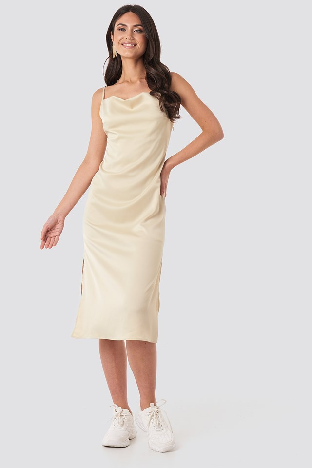 Satin Midi Slip Dress Sand
