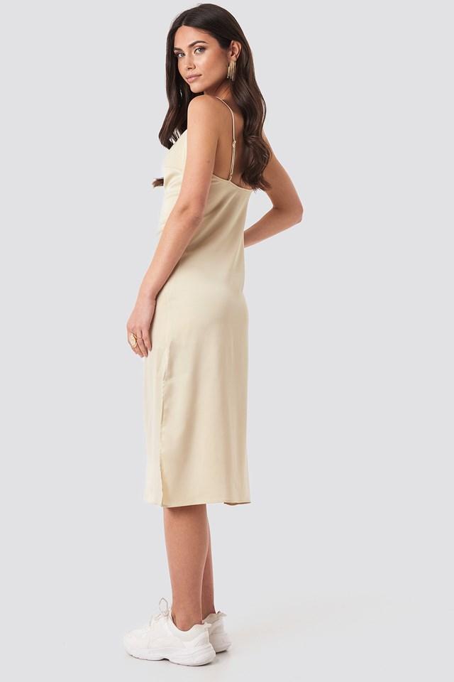 Satin Midi Slip Dress Sand