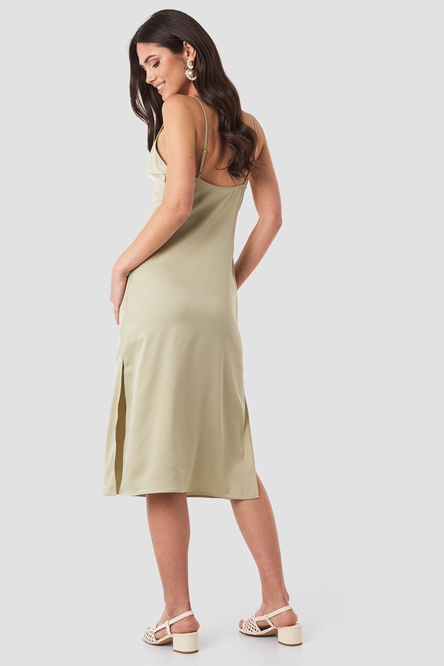Satin Midi Slip Dress Olive