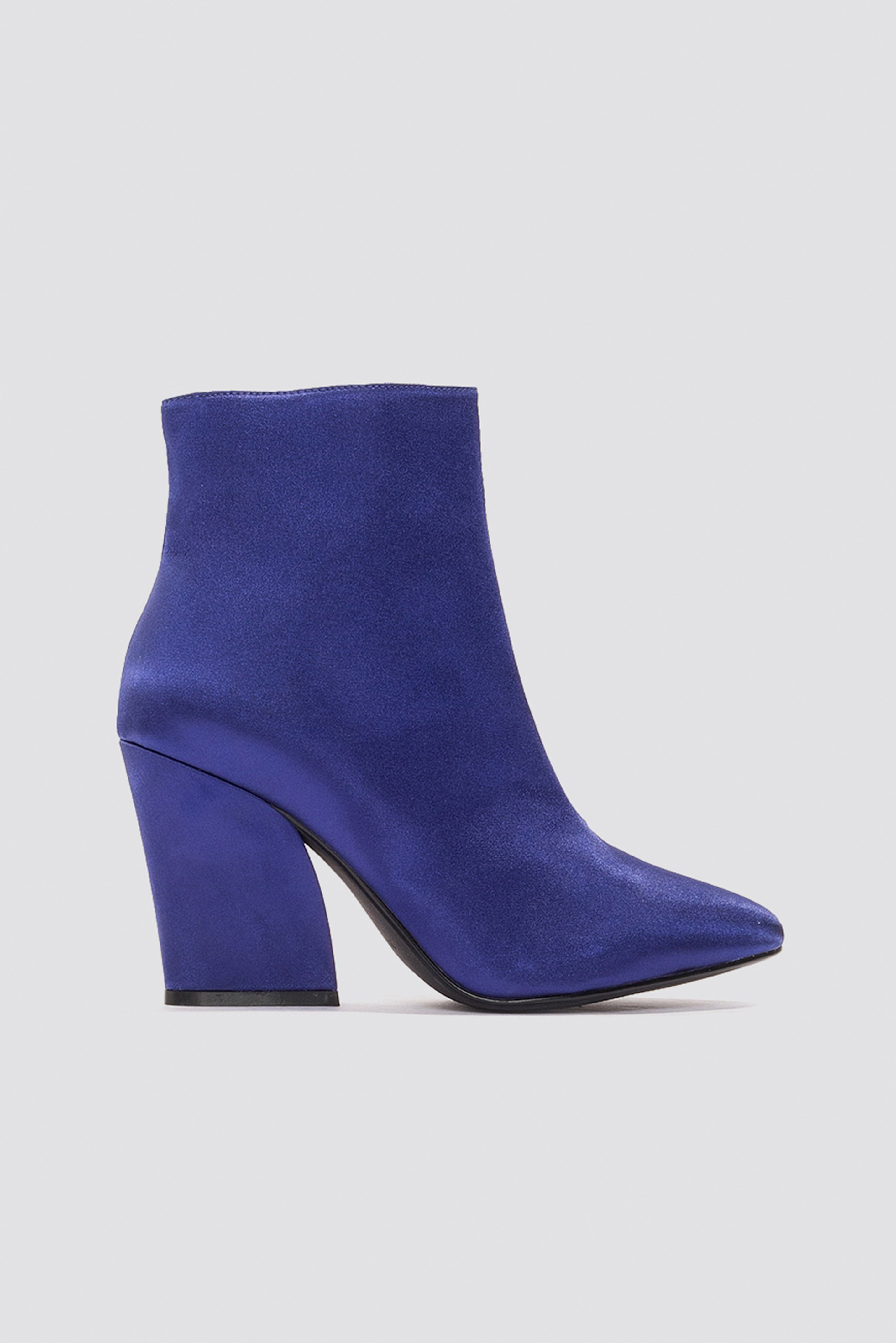 na-kd shoes -  Satin Mid Heel Boots - Blue