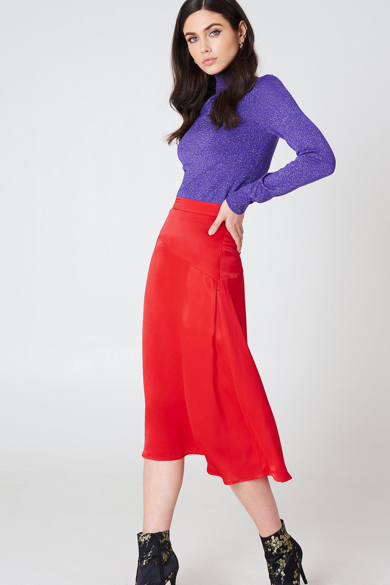 na-kd trend -  Satin Midi Skirt - Red