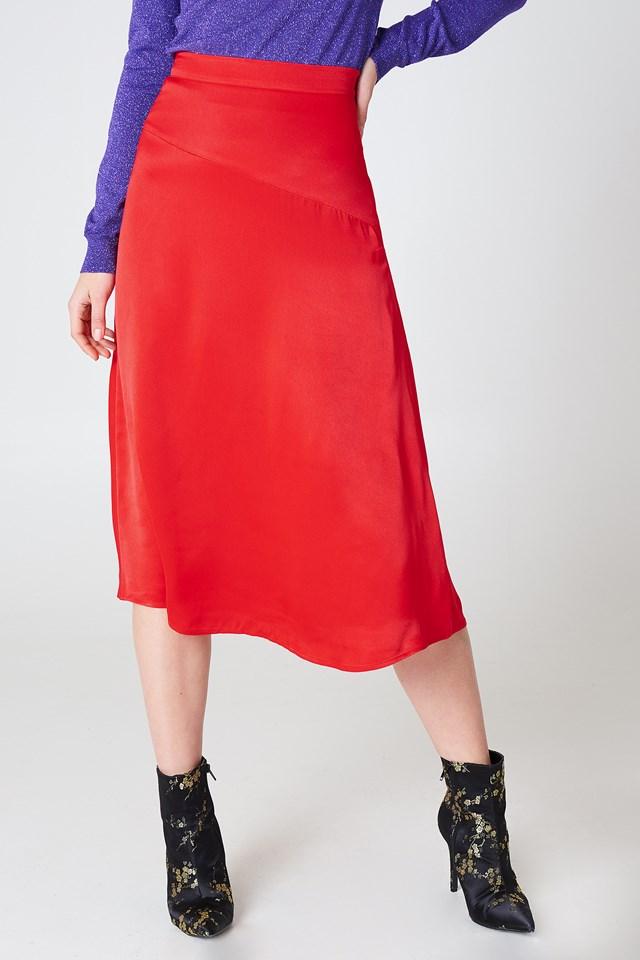 Satin Midi Skirt NA-KD.COM