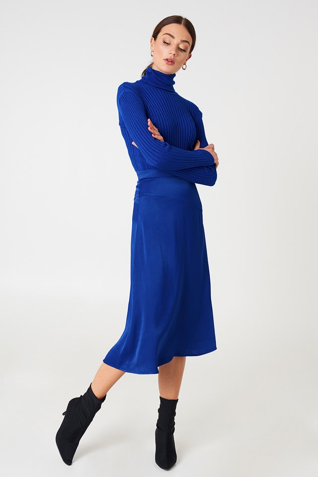 Satin Midi Skirt Cobalt