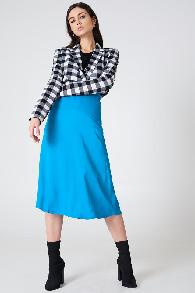 Satin Midi Skirt Ocean Blue